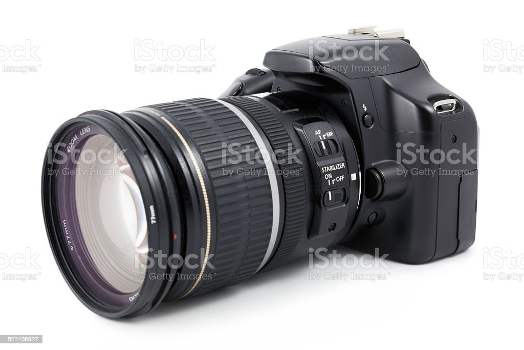 Digital SLR camera with zoom lens stock photo
