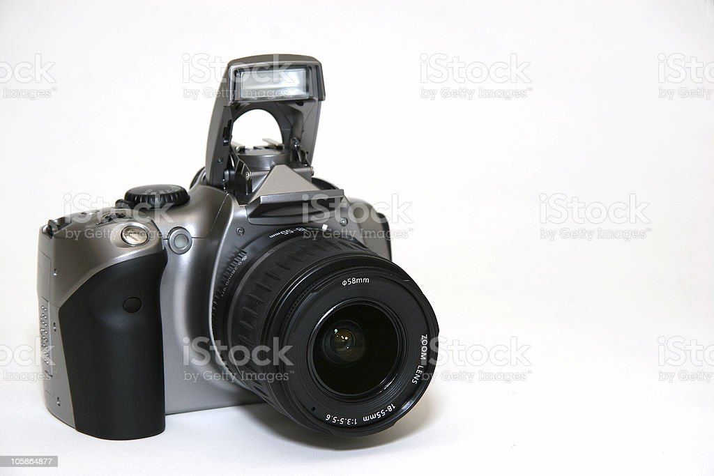 Digital SLR with flash stock photo