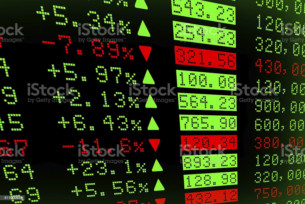 Digital Stock exchange panel stock photo