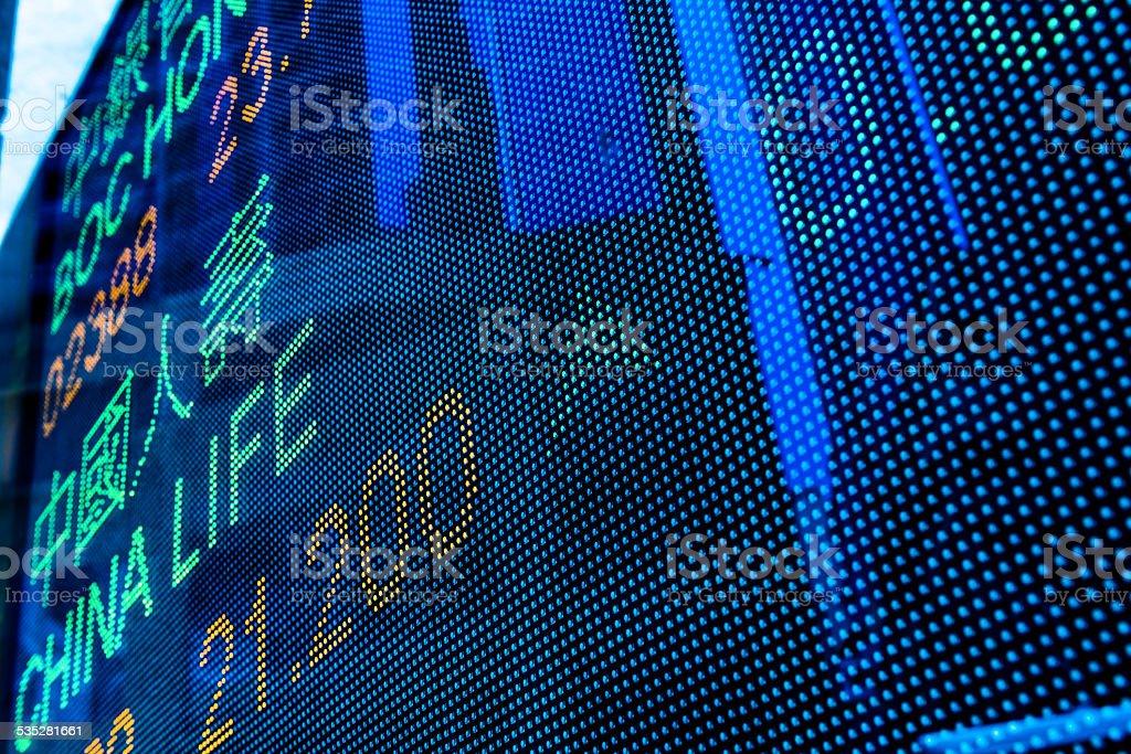 Digital stock market chart display stock photo