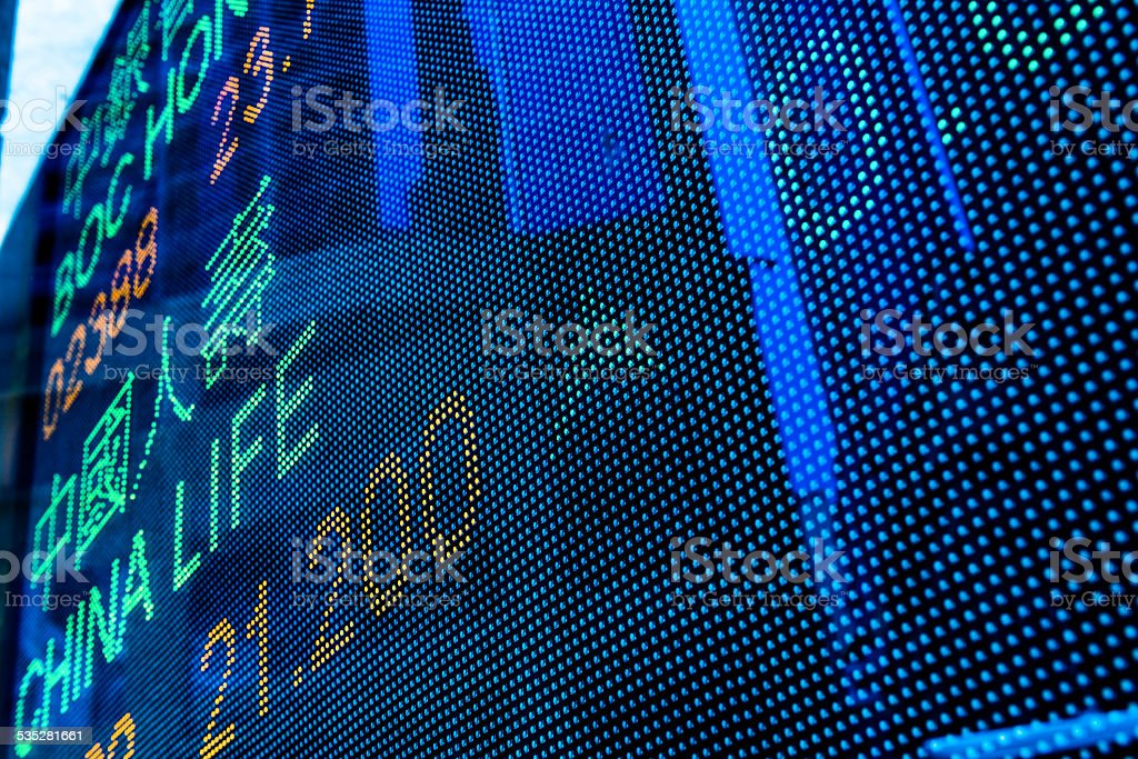 Digital stock market chart display stock photo