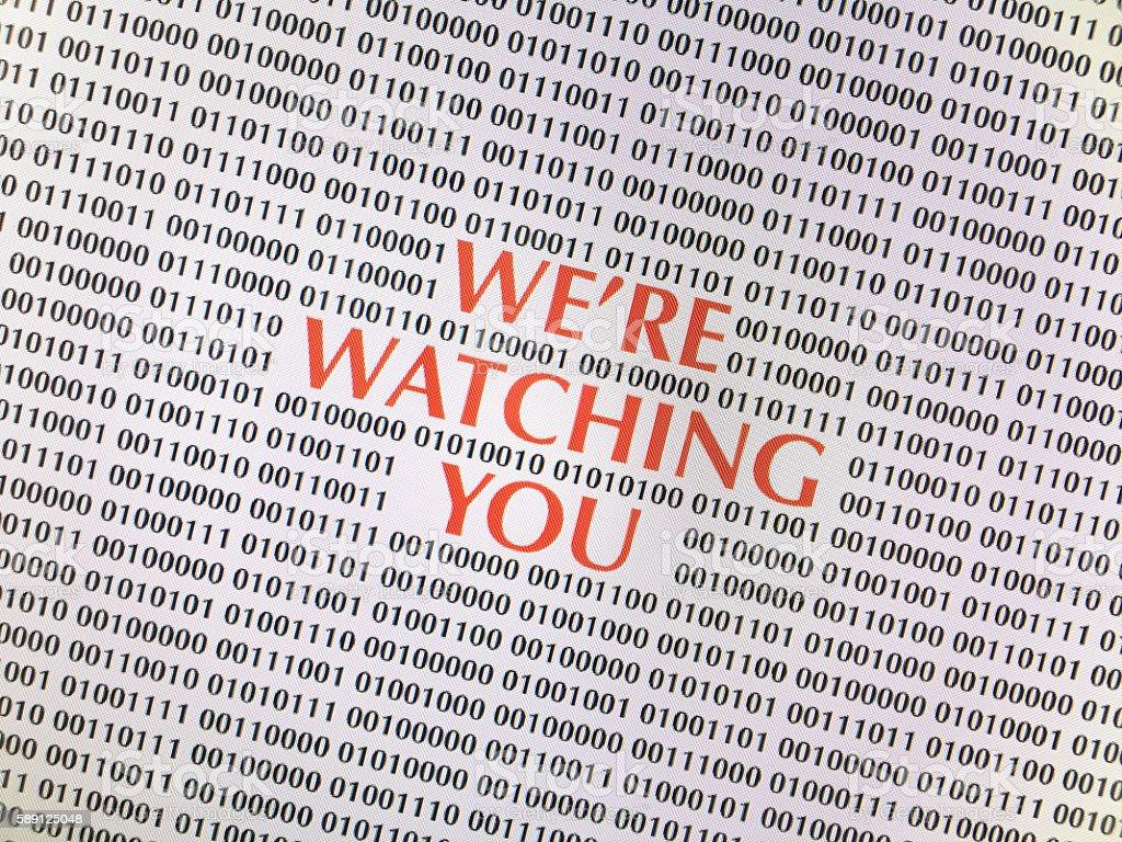 Digital Surveillance computer screen stock photo