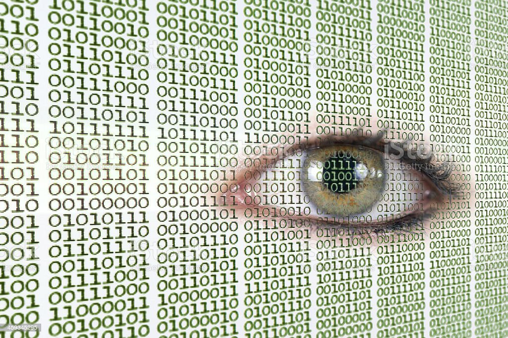 Eye on binary code. Could signify \'big brother\', privacy, or retinal...