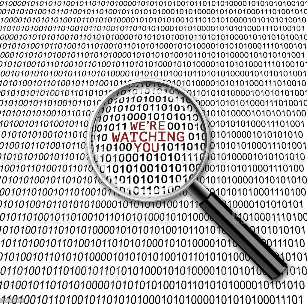 Digital surveillance magnifying glass stock photo