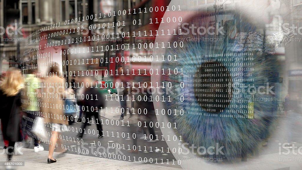 Digital surveillance montage. stock photo