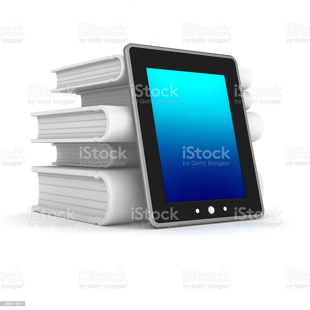 3D Digital tablet and books royalty-free stock photo