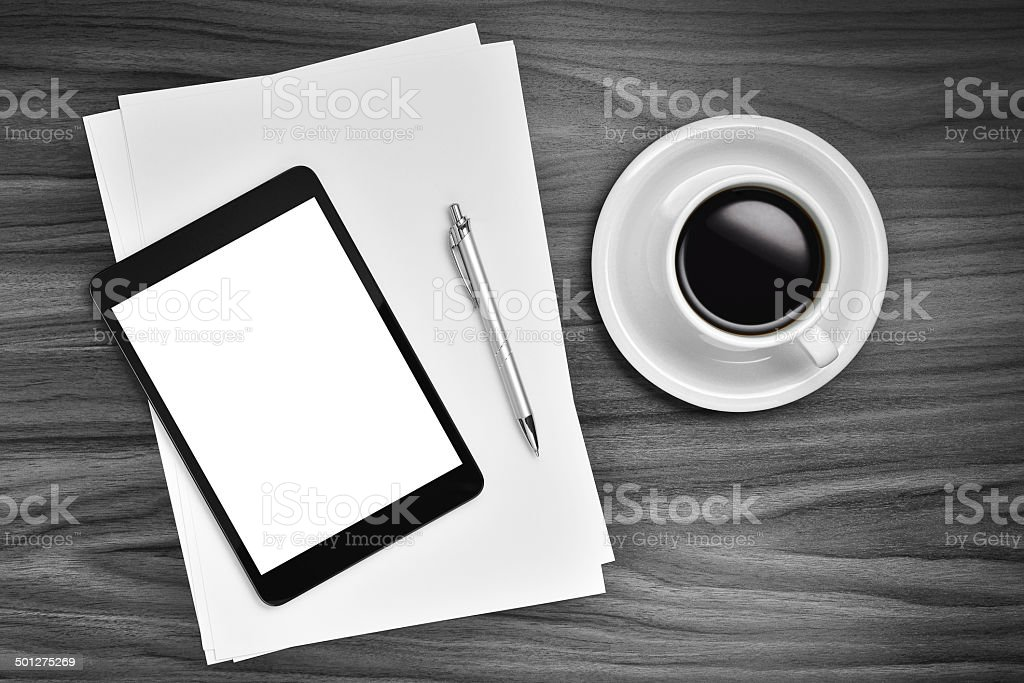 Digital tablet and coffee stock photo