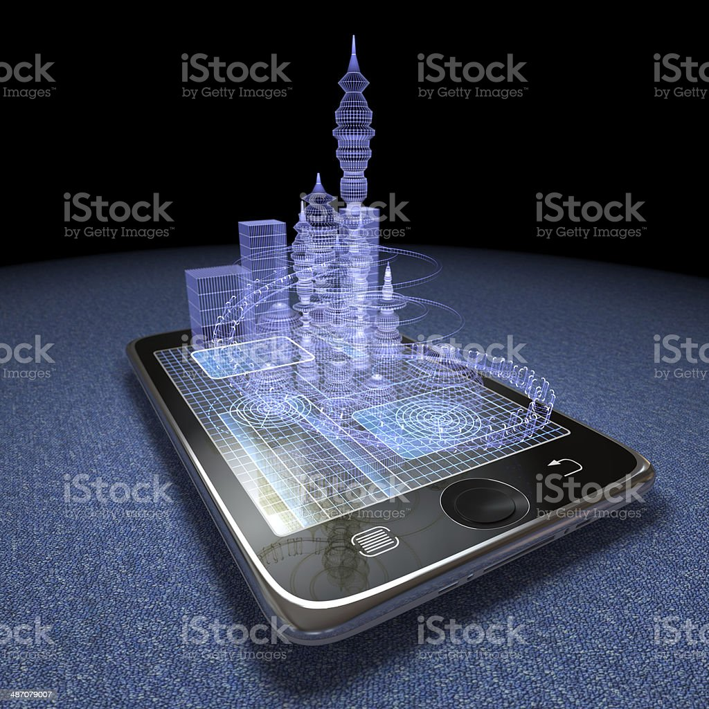 Digital tablet and futuristic town as progress concept background stock photo
