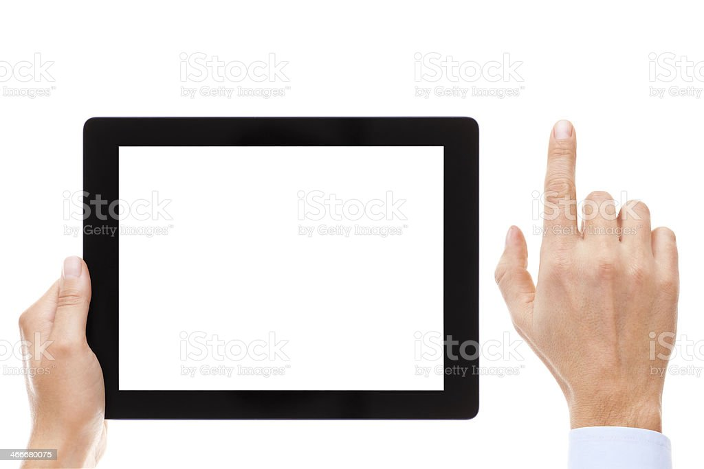 Digital Tablet And Hand royalty-free stock photo