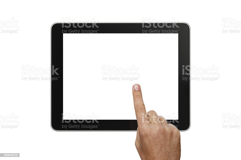 Digital Tablet And Hand With Two Clipping Paths royalty-free stock photo