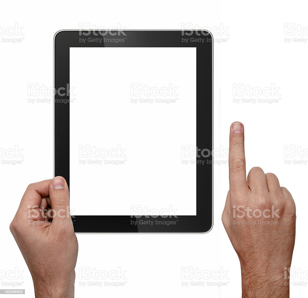 Digital Tablet And Hands With Clipping Paths stock photo