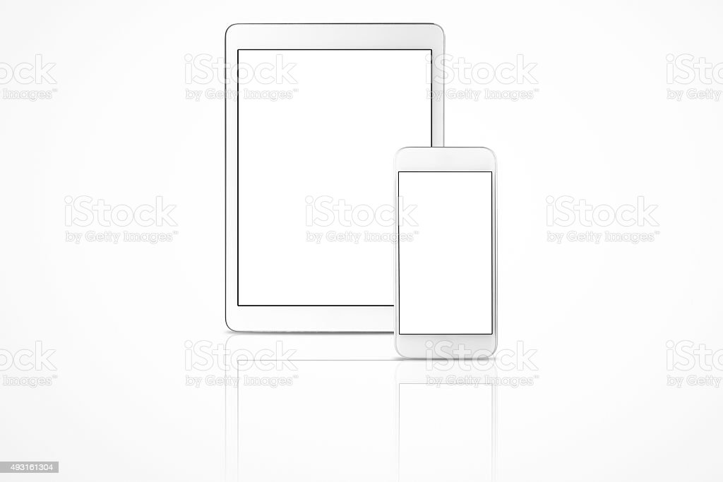 Digital Tablet and Mobile Phone White Blank Screen stock photo