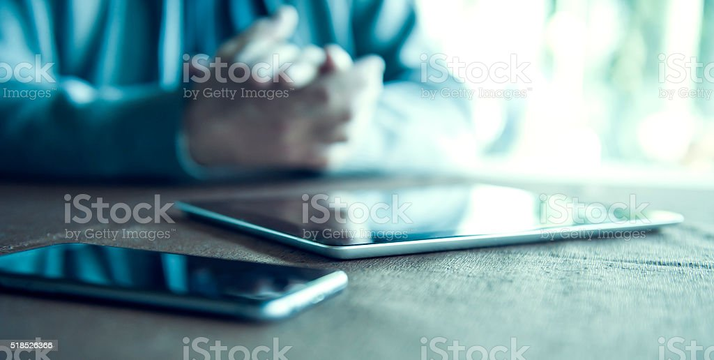 Digital tablet and smartphone stock photo