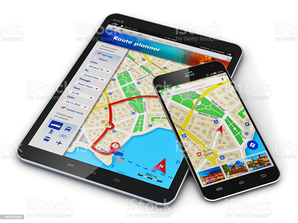 Digital tablet and smartphone with GPS maps stock photo