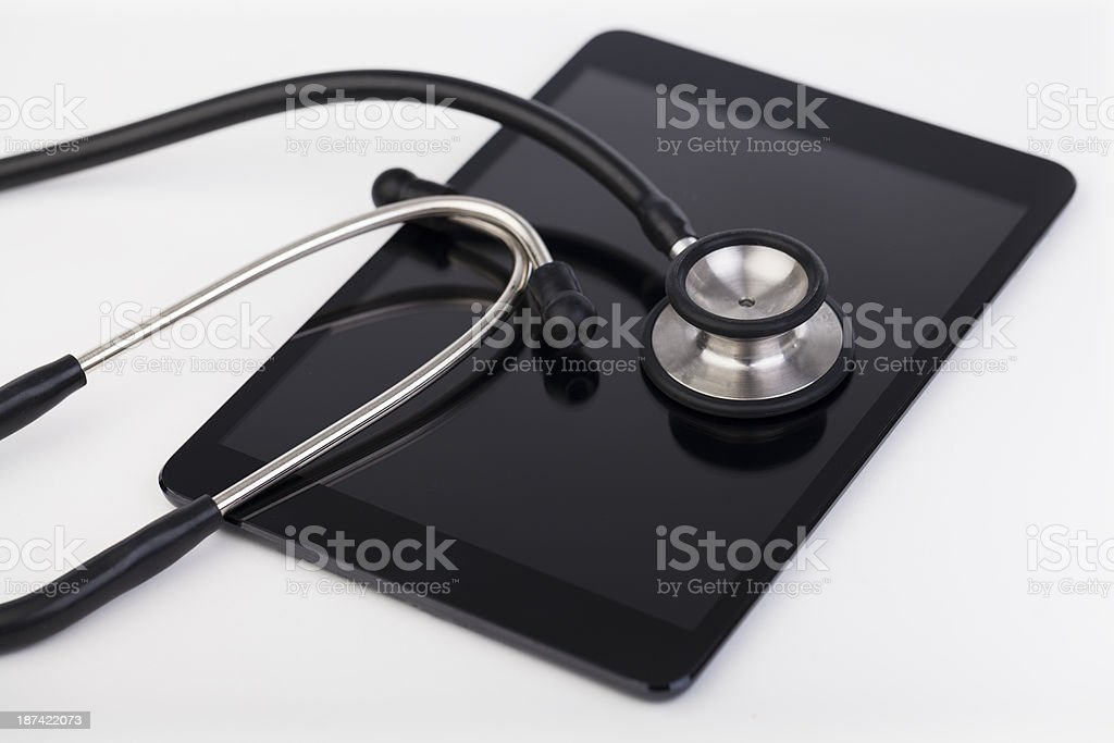 Digital tablet and Stethoscope royalty-free stock photo