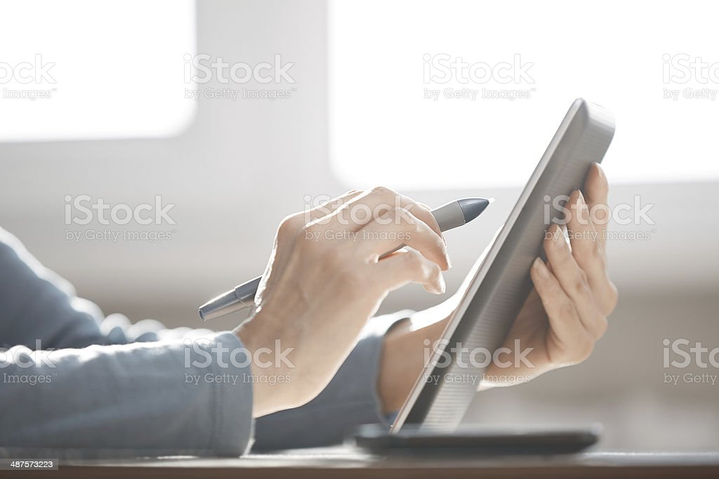 Digital tablet and stylus stock photo