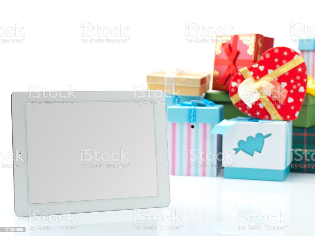Digital Tablet and Valentine's Day royalty-free stock photo