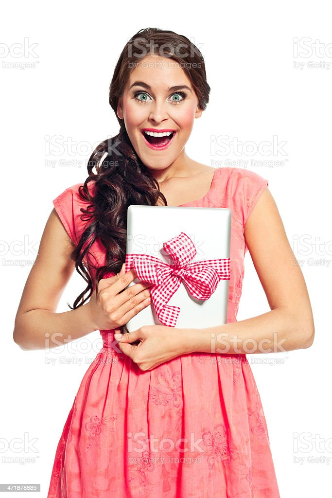 Digital tablet as a gift royalty-free stock photo