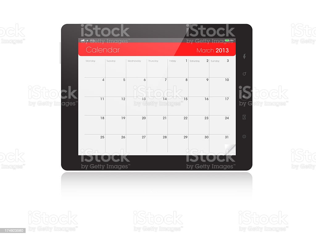 Digital Tablet Calendar - MARCH 2013 royalty-free stock photo