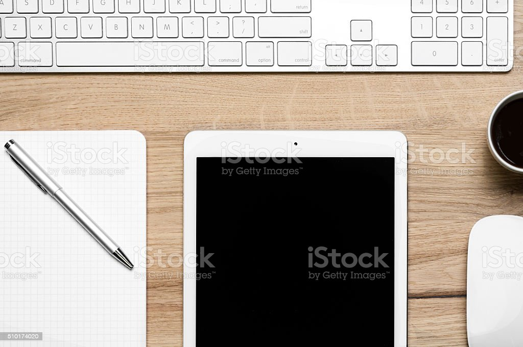 Digital tablet, computer keyboard and pen stock photo
