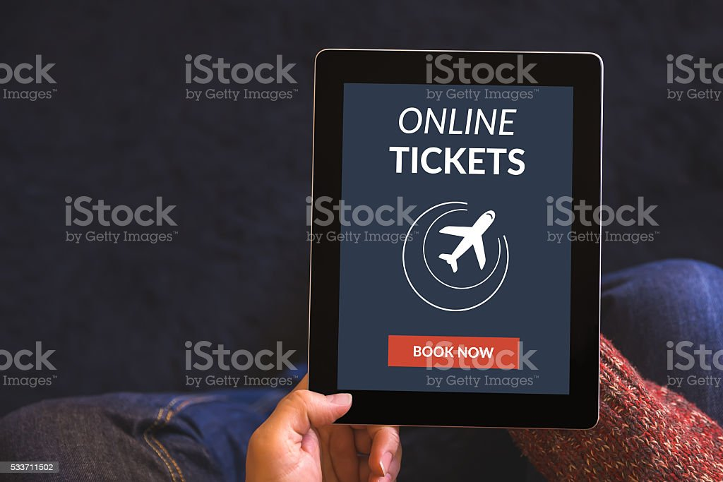 Digital tablet computer with online tickets concept on screen stock photo