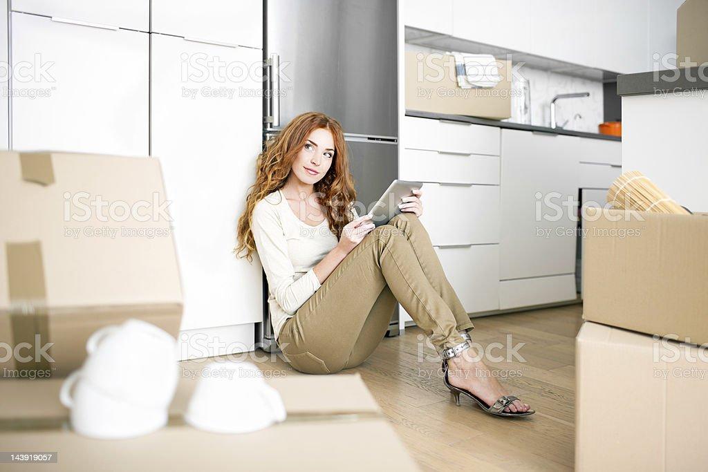 Digital tablet home improvement royalty-free stock photo