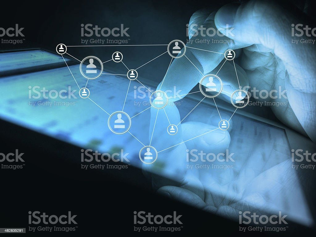 digital tablet in hand, social media concept stock photo