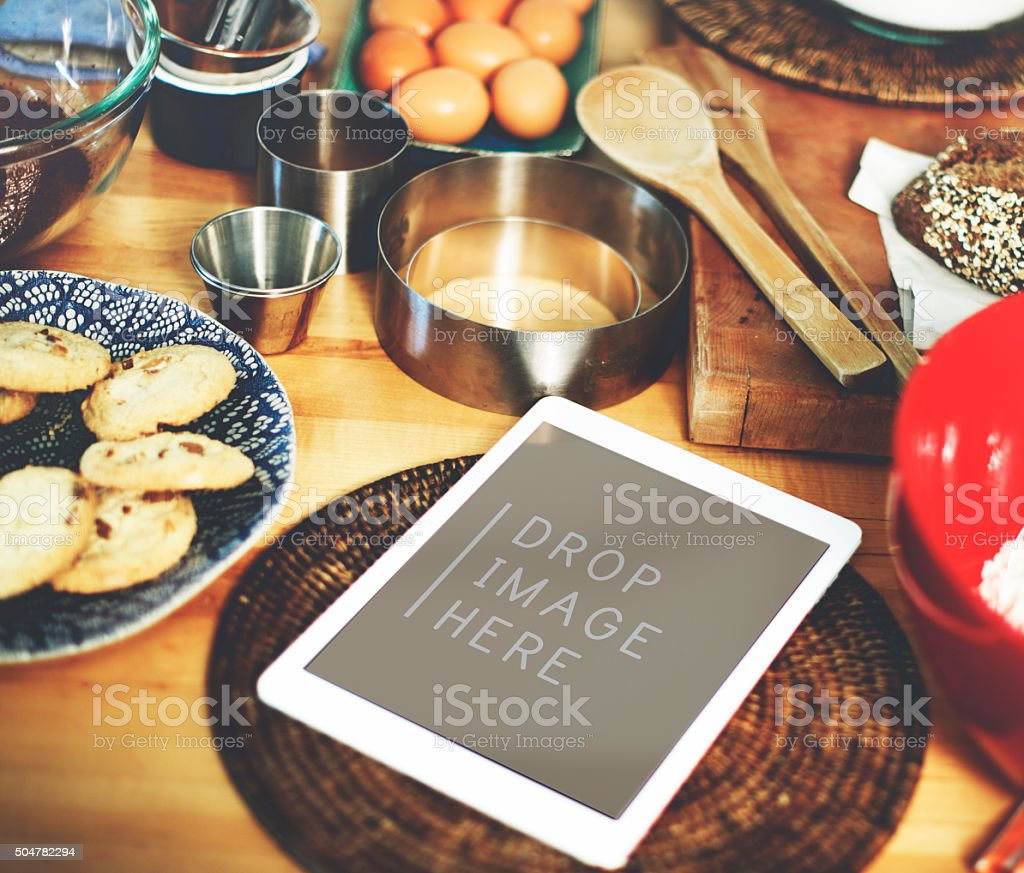 Digital Tablet Kitchen Bakery Cookies Copy Space Concept stock photo