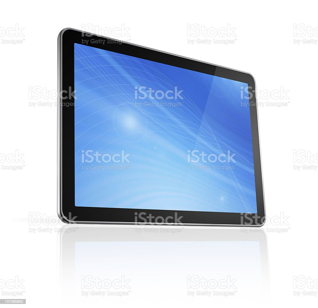 A 3D digital tablet on a white background royalty-free stock photo