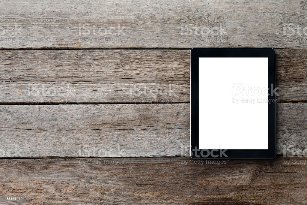 digital tablet on the table with isolated screen stock photo