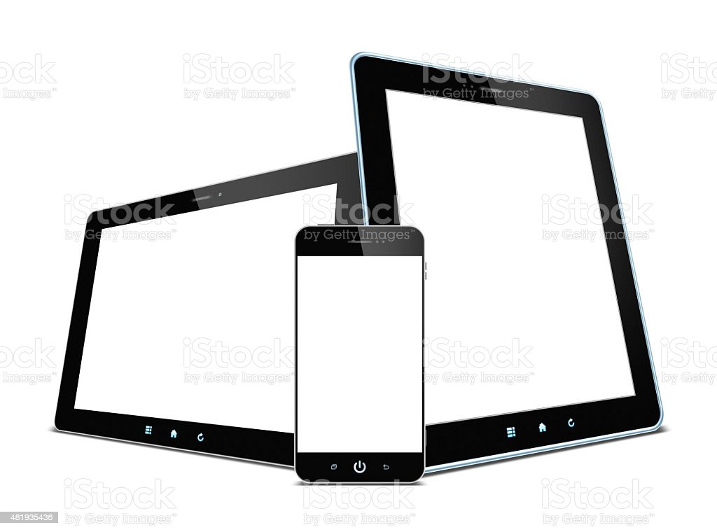 Digital Tablet PC and Smart Phone isolated on white background stock photo