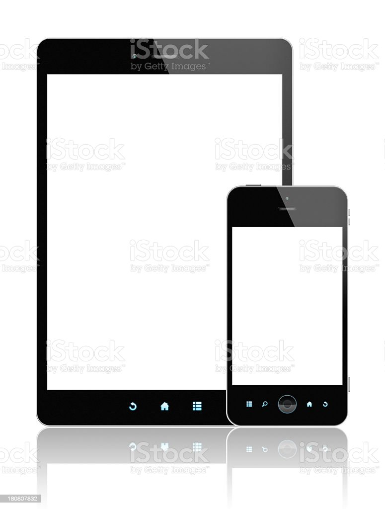 Digital Tablet PC and Smart Phone (Clipping path!) isolated royalty-free stock photo