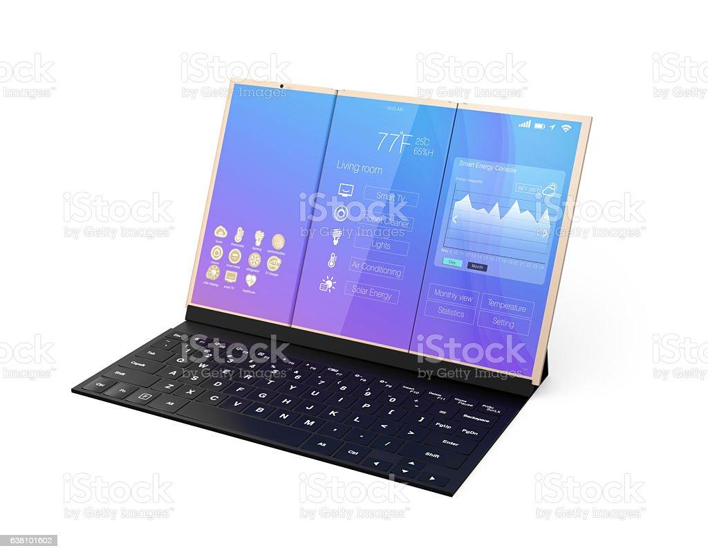 Digital tablet PC docking on a black mobile keyboard stock photo