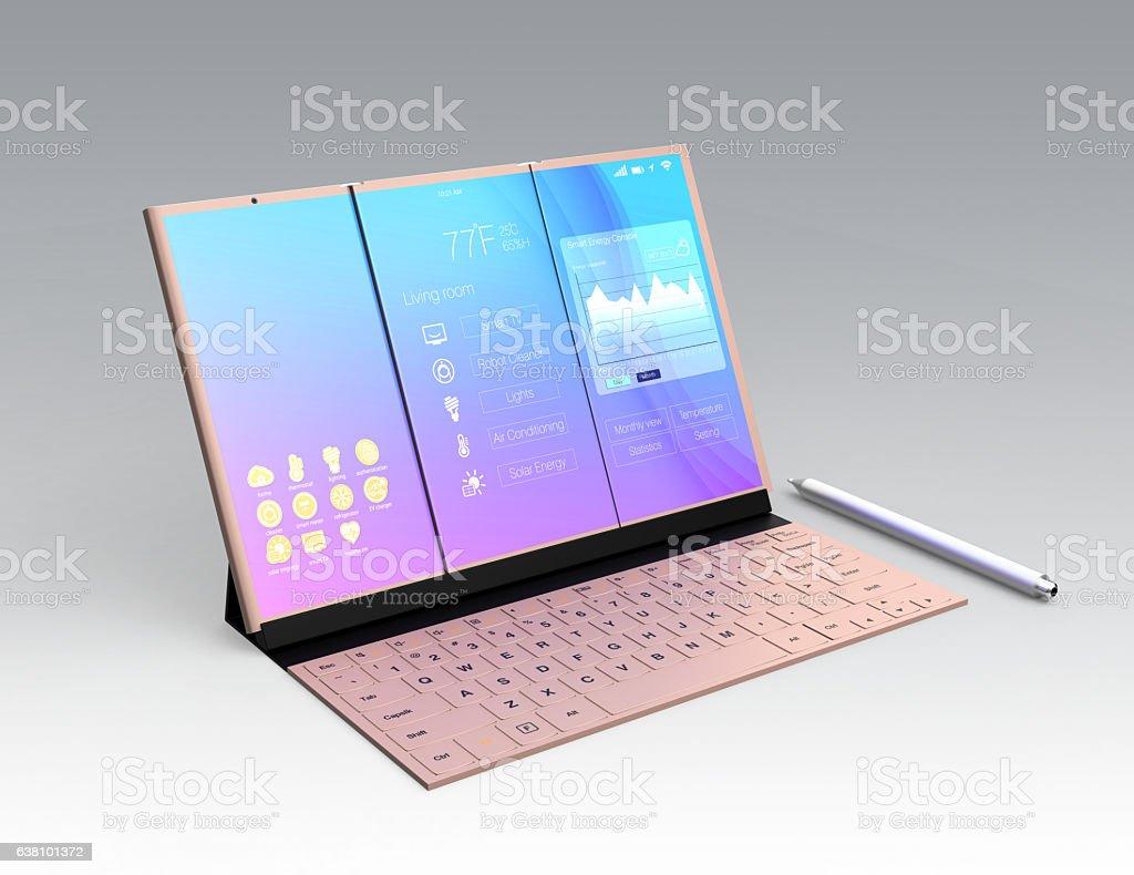 Digital tablet PC docking on mobile keyboard stock photo