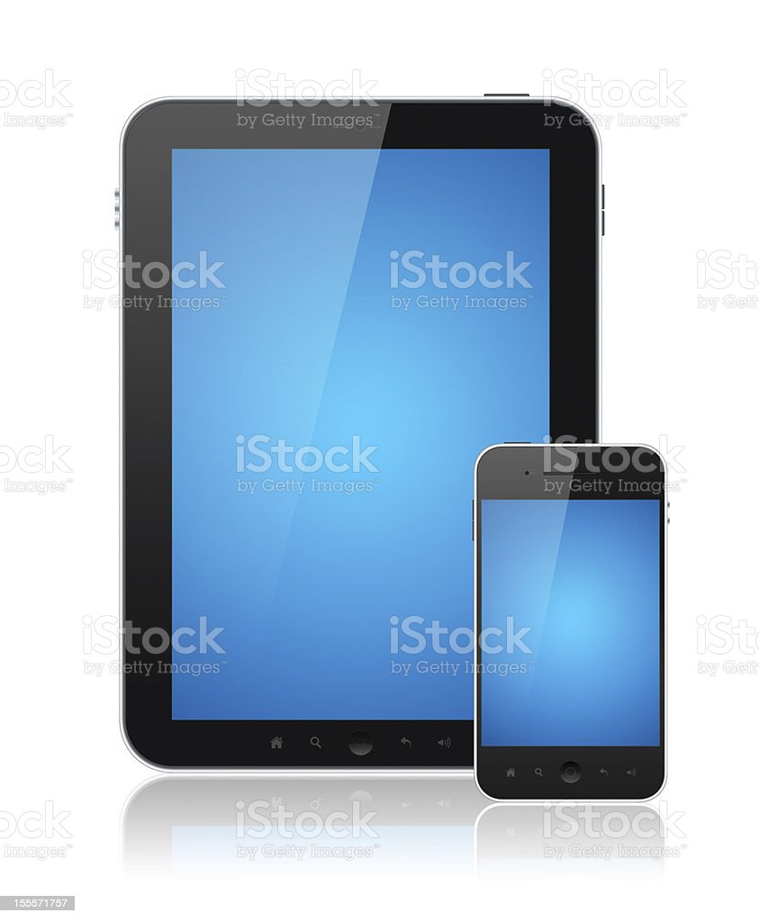 Digital Tablet PC With Mobile Smart Phone Isolated royalty-free stock photo