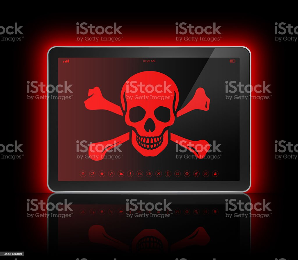 Digital tablet with a pirate symbol on screen. Hacking concept stock photo
