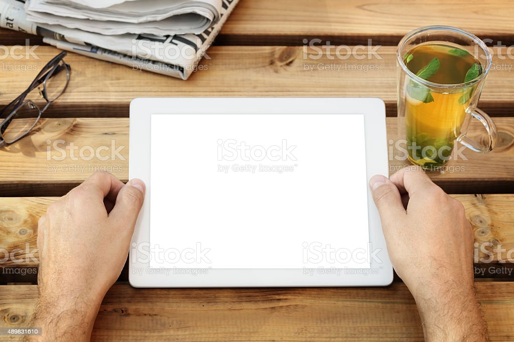 Digital tablet with blank screen stock photo