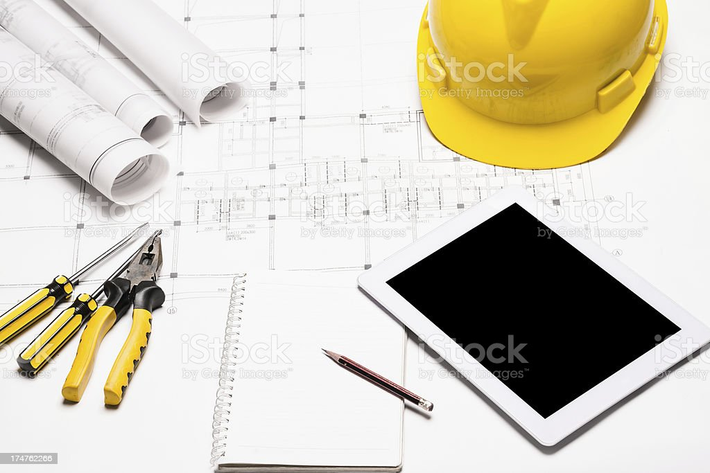 digital tablet with blue print royalty-free stock photo