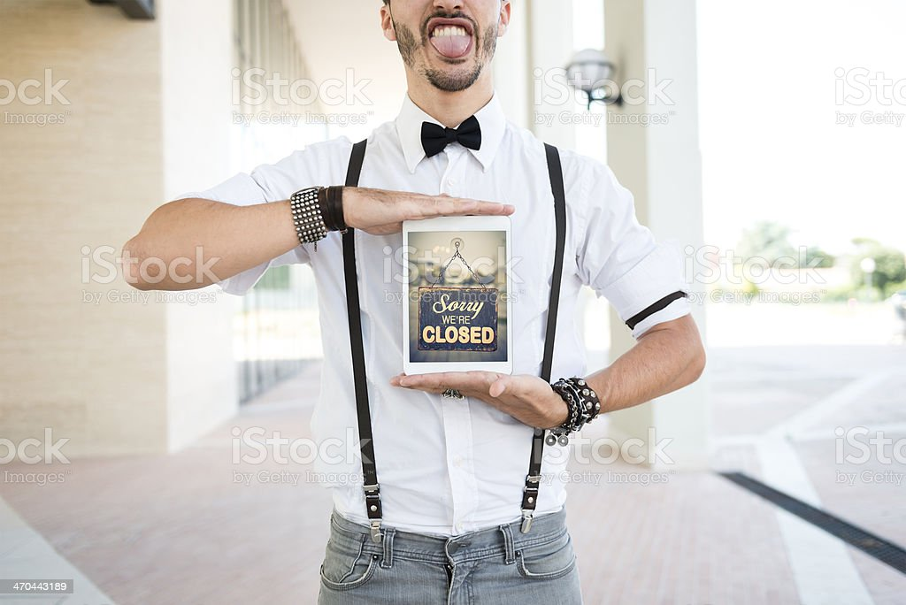 Digital tablet with closed Sign stock photo