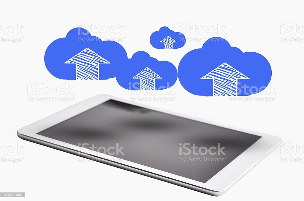 Digital tablet with cloud computing concept above stock photo