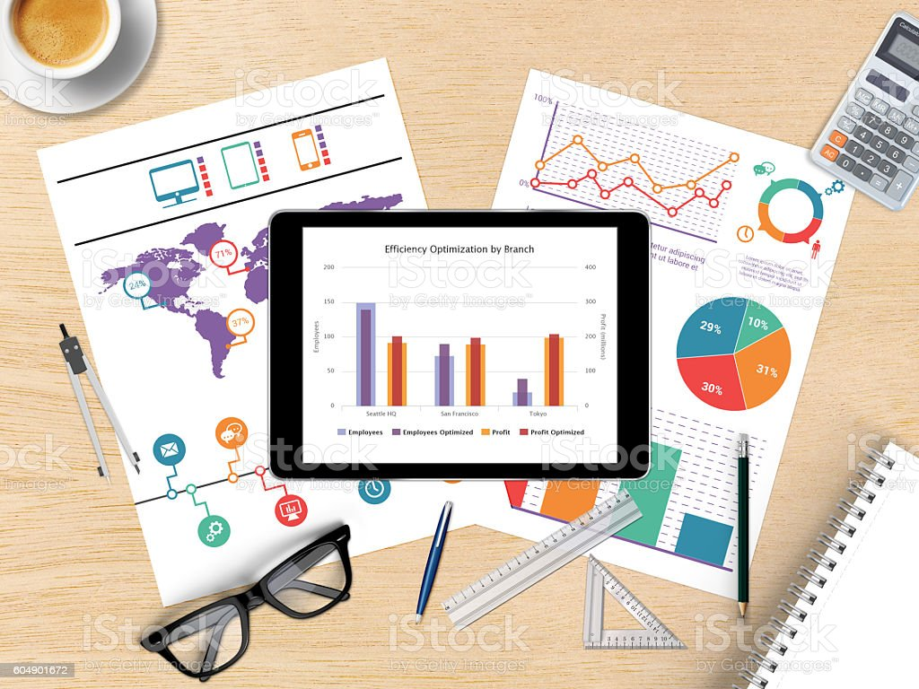 Digital tablet with financial graph stock photo