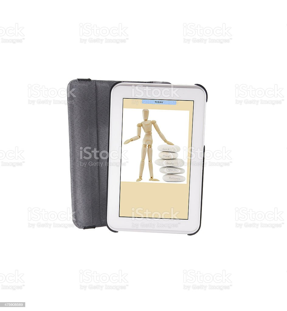 Digital Tablet with Meditation Stones Messages stock photo
