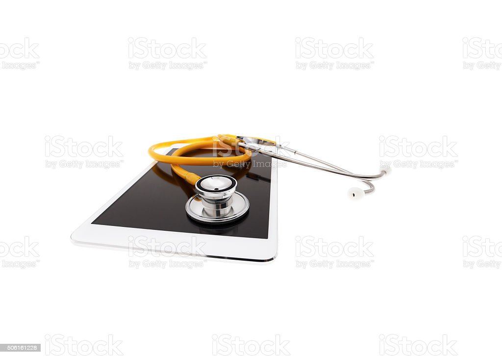 digital tablet with stethoscope stock photo