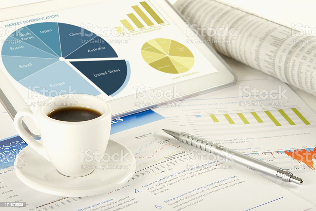 Digital tablet workflow with coffee cup and pen royalty-free stock photo