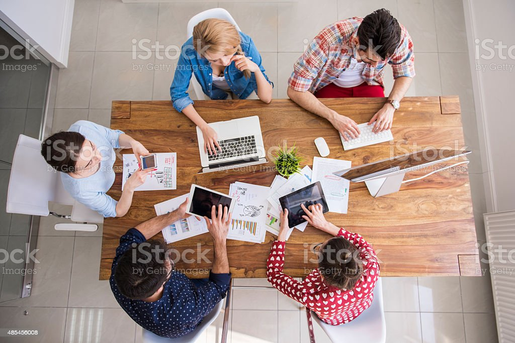 Digital technology surrounds us from everywhere stock photo