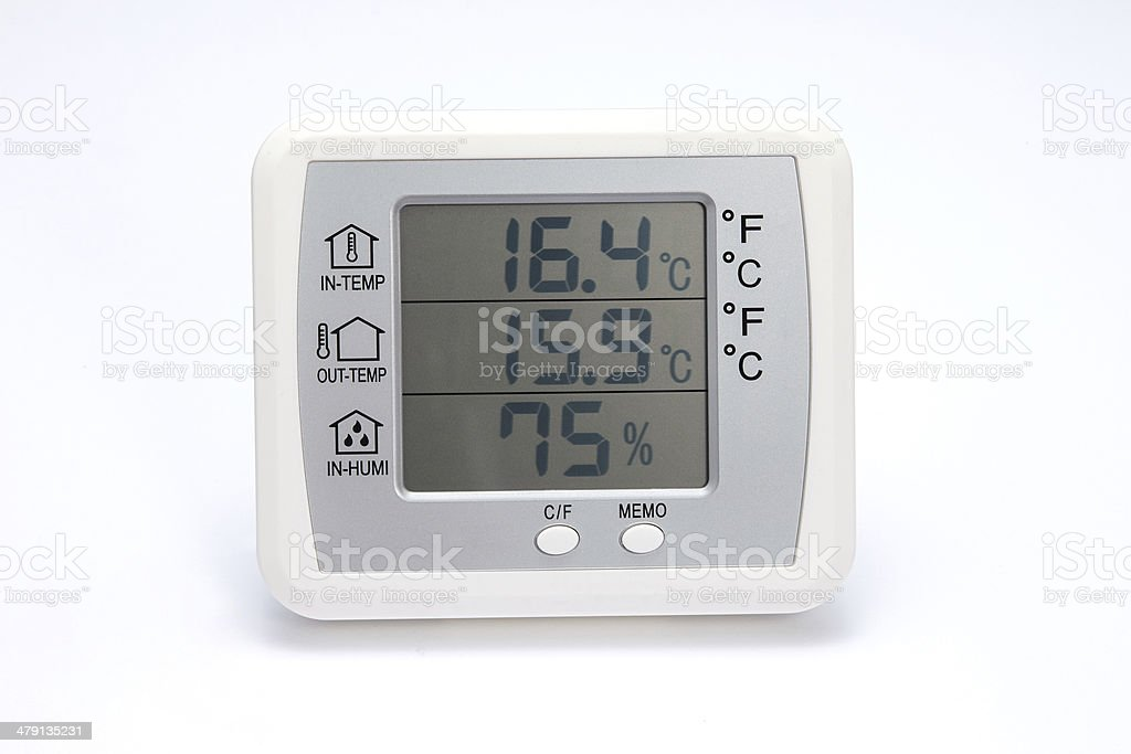 digital thermo hygrometer isolated on white stock photo