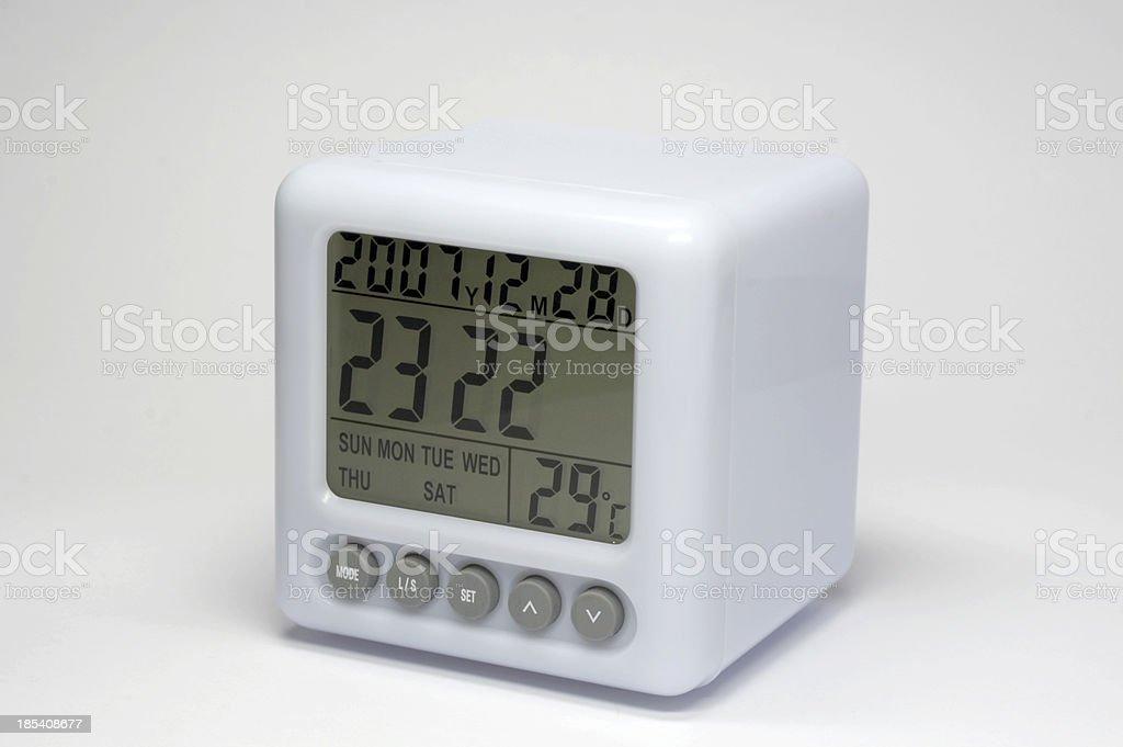 Digital thermometer alarm clock stock photo