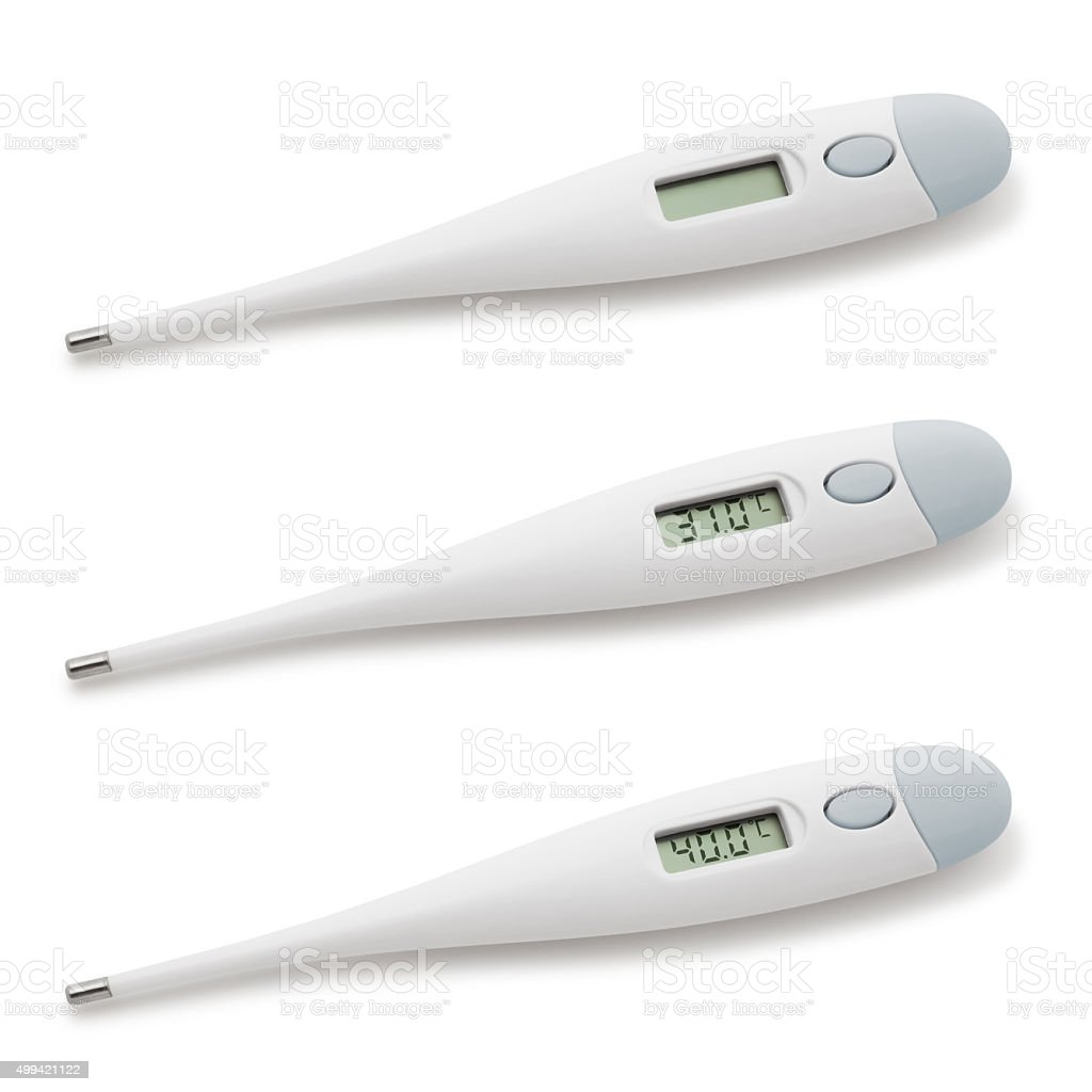 Digital Thermometers (with path) - (Celcius) stock photo