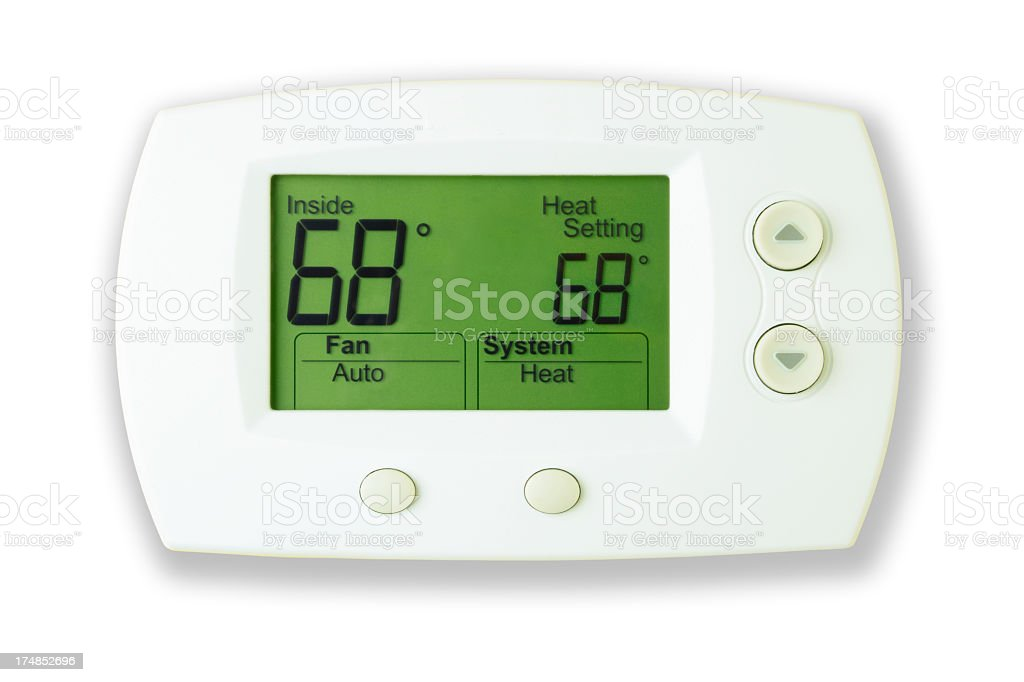 Digital Thermostat, 68 Degrees stock photo