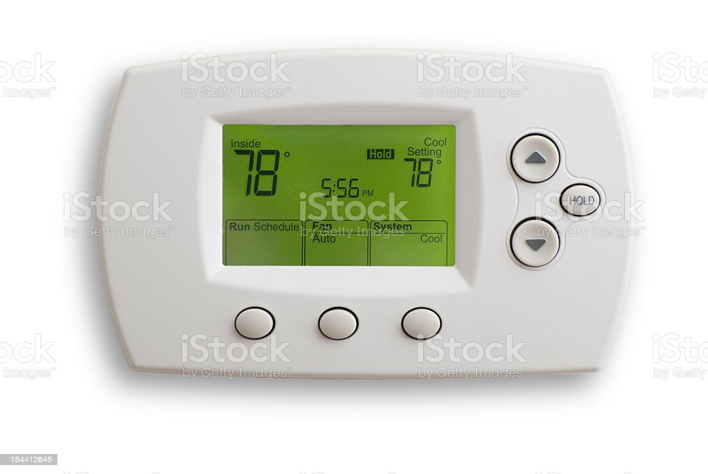 Digital thermostat on 78 degrees stock photo